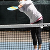 TIM JEAN/Staff photo<br /> <br /> Ginko Isobe, of Bedford, returns a volley during an adult Pickleball Tournament at Andover's Recreation Park.    5/1/21