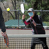TIM JEAN/Staff photo<br /> <br /> Lyda Budrys, right, of Dracut, returns a volley during an adult Pickleball Tournament at Andover's Recreation Park.    5/1/21
