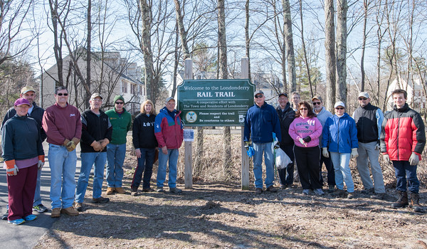 AMANDA SABGA/Staff photo<br /> <br /> Londonderry Trailways volunteers pose for a photo before they head out to clean up along the Londonderry Rail Trail.<br /> <br /> 4/21/18