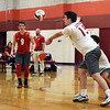 CARL RUSSO/Staff photo. Pinkerton's captain, Sean Galusha returns the serve. Lawrence high defeated Pinkerton Academy in boys volleyball action Saturday afternoon. 4/28/2018