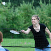 TIM JEAN/Staff photo<br /> <br /> Sarah Bertrand plays a game of badminton with Andrew Tamuma, 9, during the Community Caregivers of Greater Derry 30th anniversary barbecue at the Mack's Apples U-Pick station 2.    8/4/18