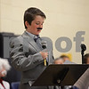 "RYAN HUTTON/ Staff photo<br /> Sporting a mustache and suit reminiscent of Walt Disney, Sean Bazyldo describes the animator's life at the South Elementary School's ""Images of Greatness"" night where students dress up as consequential people from history."