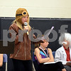 "RYAN HUTTON/ Staff photo<br /> Dressed as Amelia Earhart, Brooke Wilson introduces a fellow classmate to speak at the South Elementary School's ""Images of Greatness"" night where students dress up as consequential people from history."