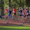 RYAN HUTTON/ Staff photo<br /> Girls from Londonderry's three elementary schools take off down the first stretch of the track during an elementary school cross country race at Londonderry High School on Wednesday.