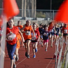 RYAN HUTTON/ Staff photo<br /> Samantha Sullivan, center left, from Matthew Sullivan Elementary School, and Audrina Hayes, center right, from North Elementary School, speed down the track during an elementary school cross country race at Londonderry High School on Wednesday.