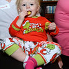 CARL RUSSO/Staff photo. Naomi Mugford, 1-half years old of Derry enjoys her Christmas cookie. Taylor Library in East Derry hosted its annual Polar Express story time Thursday night. 12/12/2019
