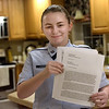 TIM JEAN/Staff photo<br /> <br /> Alexandrine Lacasse, 15, of Hampstead, wrote this letter to Governor Chris Sununu 70 days ago asking him for help with Hampstead's water issues. She called him on Tuesday, and he informed her he sent an inquiry about the matter to the Department of Environmental Services and he is looking into it. Lacasse is a freshman and honor student at Pinkerton Academy in Derry and is also a member of the Air Force JR ROTC.  1/10/19