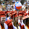 CARL RUSSO/Staff photo Pinkerton graduate balances a beach ball on her finger. Over 700 Pinkerton Academy seniors graduated Monday afternoon from the Southern New Hampshire University Arena in Manchester.  6/10/2019
