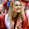 CARL RUSSO/Staff photo Pinkerton's Sadie Drouin has fun at her graduation.<br /> <br /> Over 700 Pinkerton Academy seniors graduated Monday afternoon from the Southern New Hampshire University Arena in Manchester.  6/10/2019