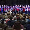 TIM JEAN/Staff photo <br /> <br /> Third-graders sing America the Beautiful on stage during the annual Veterans Day assembly at Golden Brook Elementary School in Windham.     11/8/19