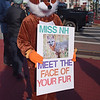 TIM JEAN/Staff photo <br /> <br /> A protester in a fox costume with a trap on its leg stands with other animal rights groups during a fur protest outside the office of Miss New Hampshire Scholarship Program on East Broadway in Derry, NH.      11/29/19