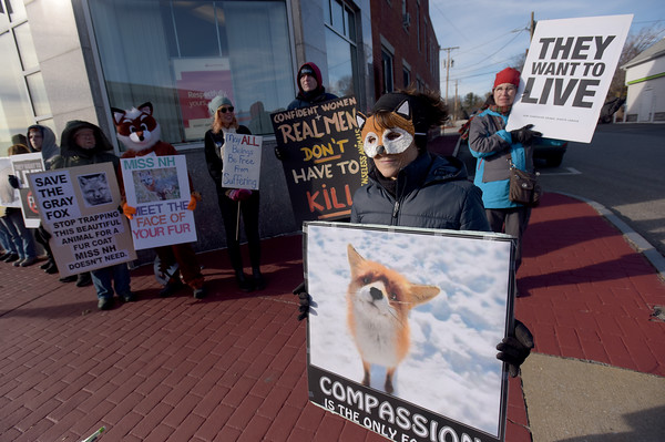 TIM JEAN/Staff photo <br /> <br /> Kristina Snyder, right, a spokesperson for N.H.C.A.R.T., New Hampshire Citizens Against Recreational Trapping and other animal rights groups held a fur protest outside the office of Miss New Hampshire Scholarship Program on East Broadway in Derry, NH.      11/29/19