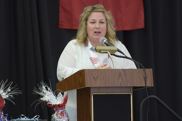 TIM JEAN/Staff photo <br /> <br /> Londonderry High School Assistant Principal Katie Sullivan speaks during a Veterans Breakfast at Londonderry High School.    11/9/19