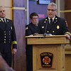 TIM JEAN/Staff photo <br /> <br /> Derry Fire Chief Michael J. Gagnon welcomes guests to the Derry Fire Department's Promotional Ceremony at the Derry Municipal Center. Derry fire officials that where promoted where Assistant Chief James Richardson, Battalion Chief Shawn Haggart, Capt. Ryan Bump, and Lt. Thomas Beaumont.  11/21/19