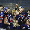 MIKE SPRINGER/Staff photo<br /> Members of the Londonderry Lancers celebrate their victory in Division 1 state football finals Sunday against Exeter at the University of New Hampshire in Durham.<br /> 11/24/2019