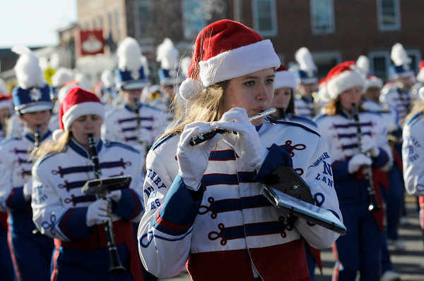 TIM JEAN/Staff photo <br /> <br /> Members of the Londonderry High School Lancers Marching Band perform during the Annual Nutfield Holiday Parade in Derry, NH.     11/30/19