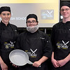 TIM JEAN/Staff photo <br /> <br /> Pinkerton Academy CTE students Lily Mendes, left, Austin Spanks, and Matthew Wolcott, won the 2019 MRE Chopped Challenge, a cooking competition at Salem High School. The event was hosted by New Hampshire Department of Education and New Hampshire Army National Guard.   11/20/19