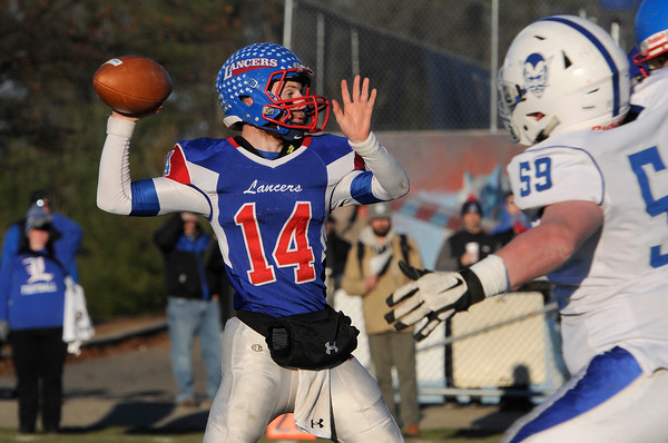 TIM JEAN/Staff photo <br /> <br /> Londonderry quarterback Jake McEachern throws a pass against Salem during the New Hampshire Division 1 semifinal football game. Londonderry won 35-14.     11/16/19