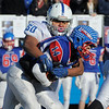 TIM JEAN/Staff photo <br /> <br /> Salem's Joshua Ozoria sacks Londonderry quarterback Jake McEachern for a loss during the New Hampshire Division 1 semifinal football game. Salem lost 35-14.     11/16/19