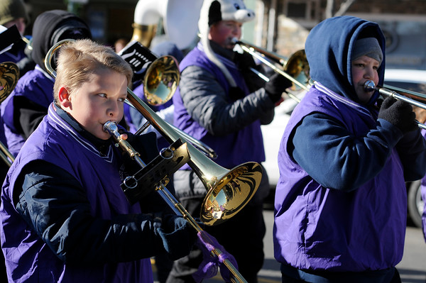 TIM JEAN/Staff photo <br /> <br /> Members of the West Running Brook Middle School marching band perform during the Annual Nutfield Holiday Parade in Derry, NH.     11/30/19