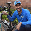TIM JEAN/Staff photo<br /> <br /> Triathlon competitor Omar Brahim, who was unable to compete in races because Covid-19 canceled them, made his own course around Windham. Brahim wanted to complete the race locally to show his young boys that hard work even in hard times pays off.   12/1/20