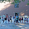 TIM JEAN/Staff photo<br /> <br /> Students lineup outside school after being dropped of by parents on the first day of school at Grinnell Elementary School in Derry, NH.   8/31/20