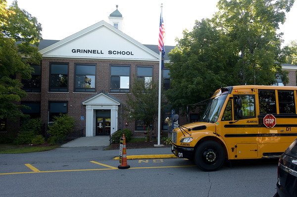 TIM JEAN/Staff photo<br /> <br /> Busses start to arrive with students on the first day of school at Grinnell Elementary School in Derry, NH.   8/31/20