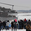 TIM JEAN/Staff photo<br /> <br /> Santa Claus arrives by helicopter at the Aviation Museum of New Hampshire for an outdoor event Saturday morning. The museum is located in the historic 1937 airport terminal at the Manchester-Boston Regional Airport.   12/12/20