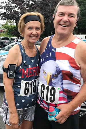 JULIE HUSS/Staff photo <br /> <br /> Sandy and Pat Sheeran of Sandown were among the hundreds of runners coming out on July 4 to take part in the annual Run for Freedom road race, hosted by the Greater Derry Track Club.