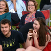 CARL RUSSO/Staff photo. Morgan Blais and her boyfriend, Jonathan Casoni react with others as the Josh Logan Trio sing happy birthday to Morgan. She turned 17 years old on June 14. The Josh Logan Trio; Josh on Guitar, Nate Comb on bass and Paul Costly on percussion, opened the summer season of free concerts in Derry's MacGregor Park Tuesday night. 6/12/2018