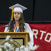 AMANDA SABGA/Staff photo<br /> <br /> Salutatorian Julia Sylvain addresses the crowd during Pinkerton Academy's 2018 graduation ceremony at the SNHU Arena in Manchester.<br /> <br /> 6/11/18