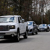 TIM JEAN/Staff photo<br /> <br /> Dozens of vehicles line Brookview Drive in Derry, NH., as they take part in a social distancing car parade of support for Branden Miner, 26, who was injured in a sledding accident earlier this year and returned home to Derry after rehab.     5/9/20