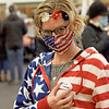 TIM JEAN/Staff photo<br /> <br /> Renae S. (who didn't want to have her last name in the paper) dressed in her patriotic attire to vote and shows off her I voted sticker on Election Day in Windham, NH.     11/3/20