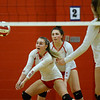 CARL RUSSO/Staff photo. Pinkerton's Sierra Edgecomb returns the serve. Pinkerton Academy  in volleyball action against Nashua South Thursday afternoon. 10/01/2020