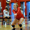 CARL RUSSO/Staff photo. Pinkerton's  Reese Asselin  keeps the ball in play. Pinkerton Academy in volleyball action against Nashua South Thursday afternoon. 10/01/2020