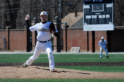 TIM JEAN/Staff photo  Haverhill pitcher Tyler McDunald throws a pitch against Lawrence during baseball action at Trinity Stadium in Haverhill. Lawrence won 8-3.     4/17/19