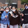 CARL RUSSO/staff photo Haverhill high athletes give thumbs-up for the Hillies' track team. <br /> <br /> Central Catholic competed against Haverhill high in boys and girls track meet at Haverhill high. 3/31/2021