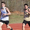 CARL RUSSO/staff photo Methuen senior Mitchell Crowe and Haverhill's Drew Roberts sprint to the finish line in the 600 meter race. <br /> <br /> Methuen competed against Haverhill in boys and girls track at the Sapienza Memorial Track at Haverhill high.  4/07/2021