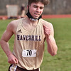 CARL RUSSO/staff photo Haverhill senior Aidan Corcoran captured third place in the mile. <br /> <br /> Methuen competed against Haverhill in boys and girls track at the Sapienza Memorial Track at Haverhill high.  4/07/2021