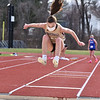 CARL RUSSO/staff photo Haverhill senior Meghan Dellea capture first place in the long jump. <br /> <br /> Methuen competed against Haverhill in boys and girls track at the Sapienza Memorial Track at Haverhill high.  4/07/2021