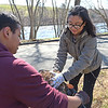 TIM JEAN/Staff photo<br />   <br /> Alex Mejia, 15, left, and Kills Calero, 16, both members of Haverhill High School VIP club, pick up debris at the Merrimack River Park on Route 110 during an Earth Day cleanup in Haverhill.     4/21/18