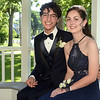 CARL RUSSO/Staff photo. GAZETTE: Haverhill high senior, Katie Galvin and her date, Haverhill high freshman, Elijah Martinez have their picture taken in the Bradford Common gazebo. Haverhill High School and Whittier Tech. High School seniors gathered at the Bradford Common for photos before attending their proms Tuesday night.  5/29/2018