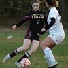 CARL RUSSO/staff photo. GAZETTE: Whittier captain, Emily Shal maneuvers the ball. Northeast defeated Whittier Tech 3-0 in girls soccer action. 10/30/2018
