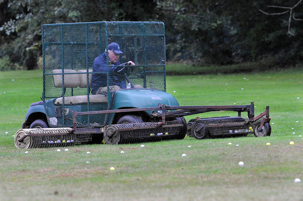 TIM JEAN/Staff photo<br /> <br /> Golf center owner Ted Murphy drives a cart that picks up golf balls during the first day of the Haverhill Gazette's 48th annual Hole-In-One Contest. The contest was held at Murphy's Garrison Golf Center on Hilldale Avenue in Haverhill .  10/3/18