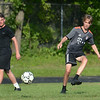 CARL RUSSO/staff photo. Haverhill high soccer captain, Tanner Van Cor, a junior moves the ball during a practice scrimmage. The Haverhill high boys soccer team held practice Friday afternoon. 8/24/2018