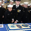 CARL RUSSO/Staff photo Sea Cadet Armando Taibot, 11, and Chief Petty Officer Kyle Sheedy, 18 perform the tradition of the oldest and youngest cadets cut the ceremonial cake following the inspection and presentation ceremony.  Sheedy is a senior at Central Catholic high school.<br /> <br /> The US Naval Sea Cadet Corps Constitution Division, sponsored by the Veterans Northeast Outreach Center in Haverhill, held their annual Inspection ceremony on Monday night, March 18. The Annual Inspection process is meant to provide feedback to Unit Commanding Officers and Regional Directors about the performance of their units, and to serve as an objective basis for discussions among Regional Directors and Commanding Officers about improving unit training, recruiting, and administrative efforts.  3/18/2019