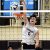 CARL RUSSO/Staff photo. Haverhill's Connor Buscema in action against North Andover. Haverhill defeated North Andover 3-0 in boys volleyball action. 4/26/2019