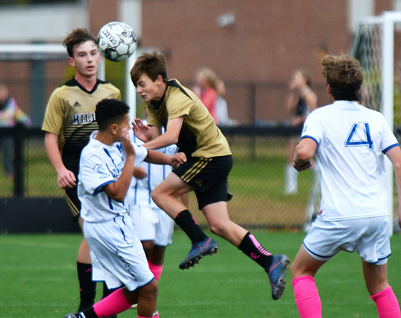 CARL RUSSO/Staff photo Haverhill's Ethan Archamabault beats Methuen's Rayane Elmakhlouk to head the ball. Haverhill defeated Methuen 4-0 in boys soccer action Tuesday afternoon. 10/22/2019