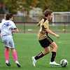 CARL RUSSO/Staff photo Haverhill's Jaden Shaut races pass Methuen's Brady Collins on his way to the goal. Haverhill defeated Methuen 4-0 in boys soccer action Tuesday afternoon. 10/22/20199