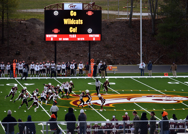 CARL RUSSO/Staff photo. Whittier Tech. plays on their new field on November 8 with a state of the art scoreboard. Whittier Tech was defeated 36-22 by Ipswich in Friday football action. 11/8/2019